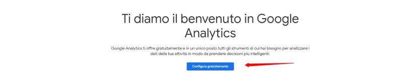 Benvenuto in Google Analytics inizia configurazione