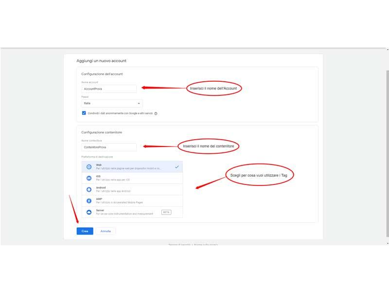 Creazione e configurazione account GTM