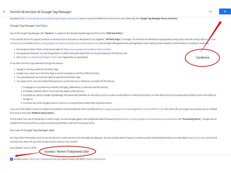 Termini di Servizio di Google Tag Manager